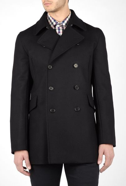 Ps By Paul Smith Black Melton Wool 3/4 Pea Coat in Black for Men - Lyst