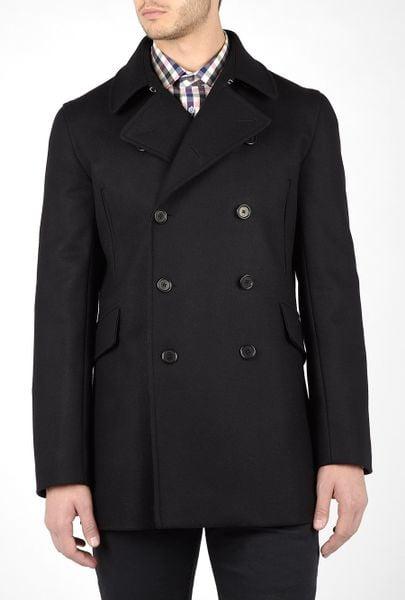 Ps By Paul Smith Black Melton Wool 3/4 Pea Coat in Black for Men