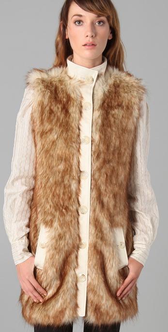 Rachel Zoe Long Faux Fur Vest In Brown Lyst
