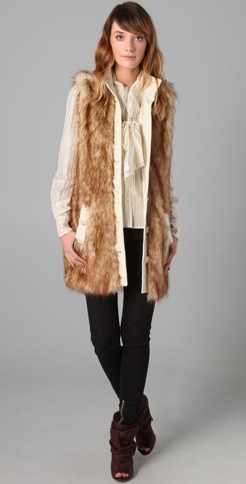 Lyst Rachel Zoe Long Faux Fur Vest In Brown