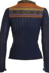 Suno Pointelle Cardigan in Blue (navy) - Lyst