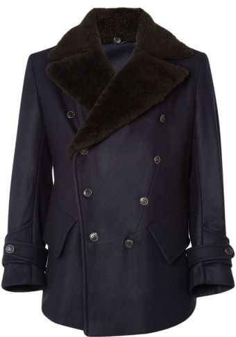 Yves Saint Laurent Pea Coat with Shearling Collar - Lyst