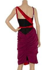 Zac Posen Asymmetric Draped Silkblend Dress in Purple (red) - Lyst