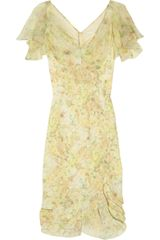 Zac Posen Printed Silk-crepe Dress - Lyst