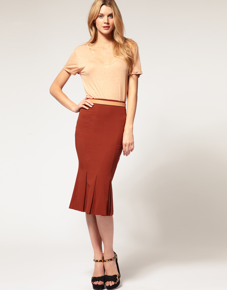 asos collection asos pencil skirt with pleated fishtail in
