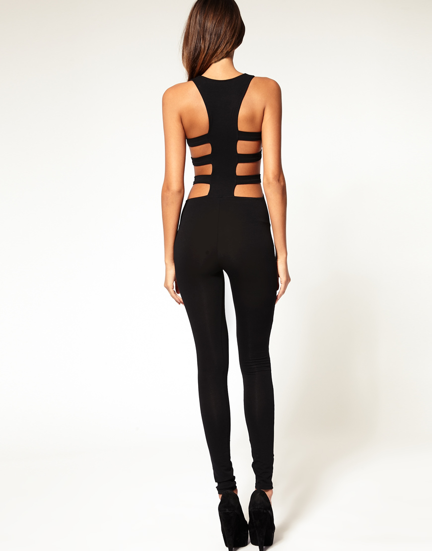 Asos Collection Asos Cut Out Side Unitard In Black Lyst