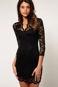 ASOS Collection Asos Lace Dress with Scalloped Neck - Lyst