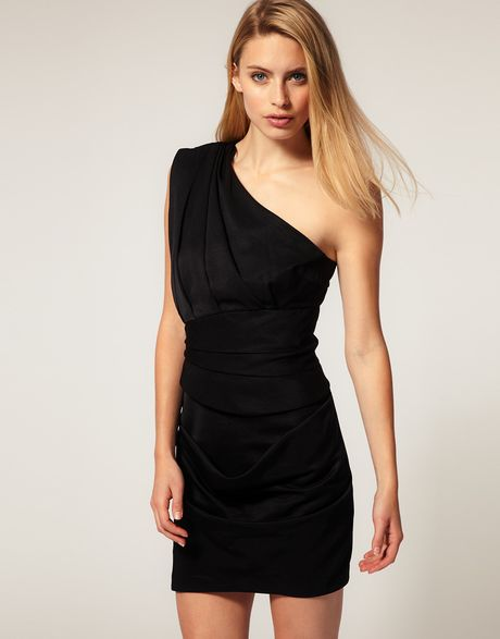 Asos Collection Asos Pleated Dress with One Shoulder in Black - Lyst