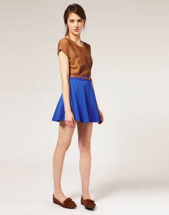 ASOS Collection Asos Belted Ponti Fit and Flare Skirt - Lyst