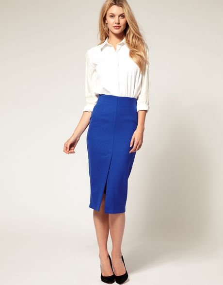 asos collection asos midi pencil skirt with front split in