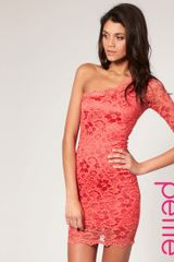 ASOS Collection Asos Petite Lace One Sleeve Bodycon Dress - Lyst