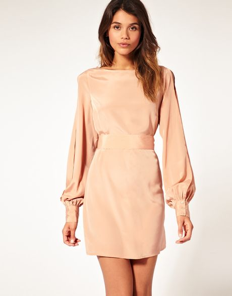Asos Collection Asos Slit Sleeve Dress with Cut Out Back in Beige (cork) - Lyst