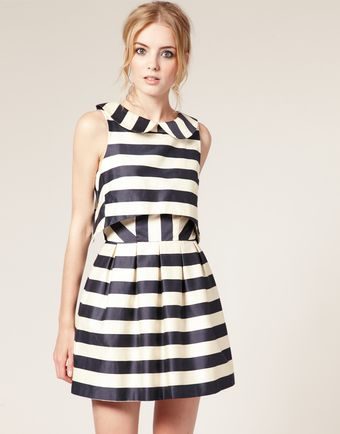 ASOS Collection Asos Peter Pan Dress in Stripe Print - Lyst