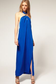 ASOS Collection Asos Maxi Tie Neck Dress with Split Thigh - Lyst