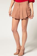 Asos Collection Asos Short with Pleats in Brown (taupe) - Lyst