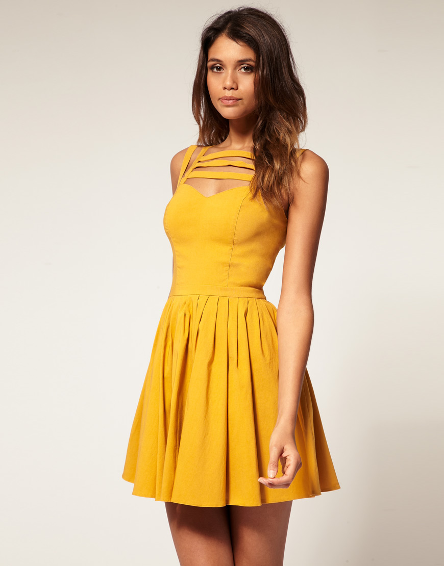 Asos collection Asos Full Skirt Dress with Multi Strap in Yellow ...