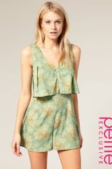 ASOS Collection Asos Petites Exclusive Fan Printed Playsuit - Lyst