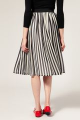 Asos Collection Asos Stripe Midi Skirt in Black (print) - Lyst