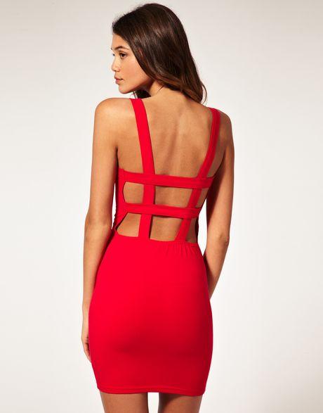 Asos Collection Asos Bodycon Dress With Strap Back Detail