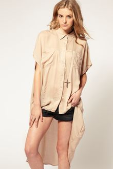 ASOS Collection Asos Extreme Dip Back Sheer Panel Shirt - Lyst