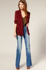 Asos Collection Asos Spot Print Chiffon Blazer in Red (print) - Lyst