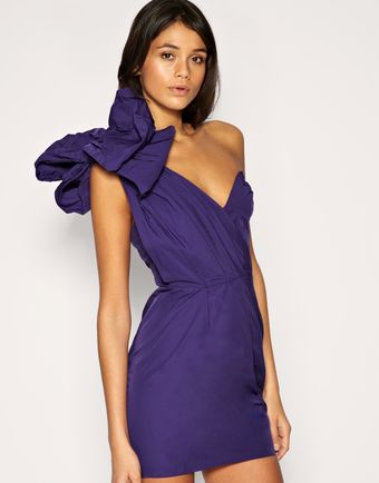 ASOS Collection Asos One Shoulder Dress with Exaggerated Bow - Lyst