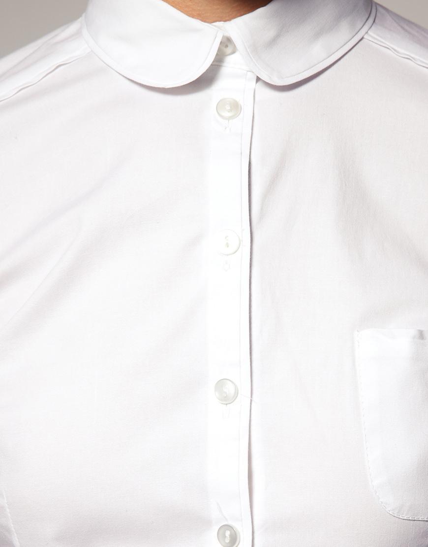 Lyst asos collection asos peter pan collar fitted shirt for White cotton shirt peter pan collar