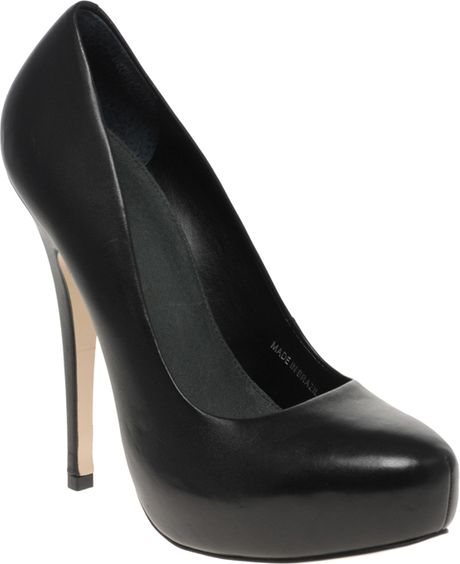 Asos Asos Polly Leather Court Shoes in Black - Lyst
