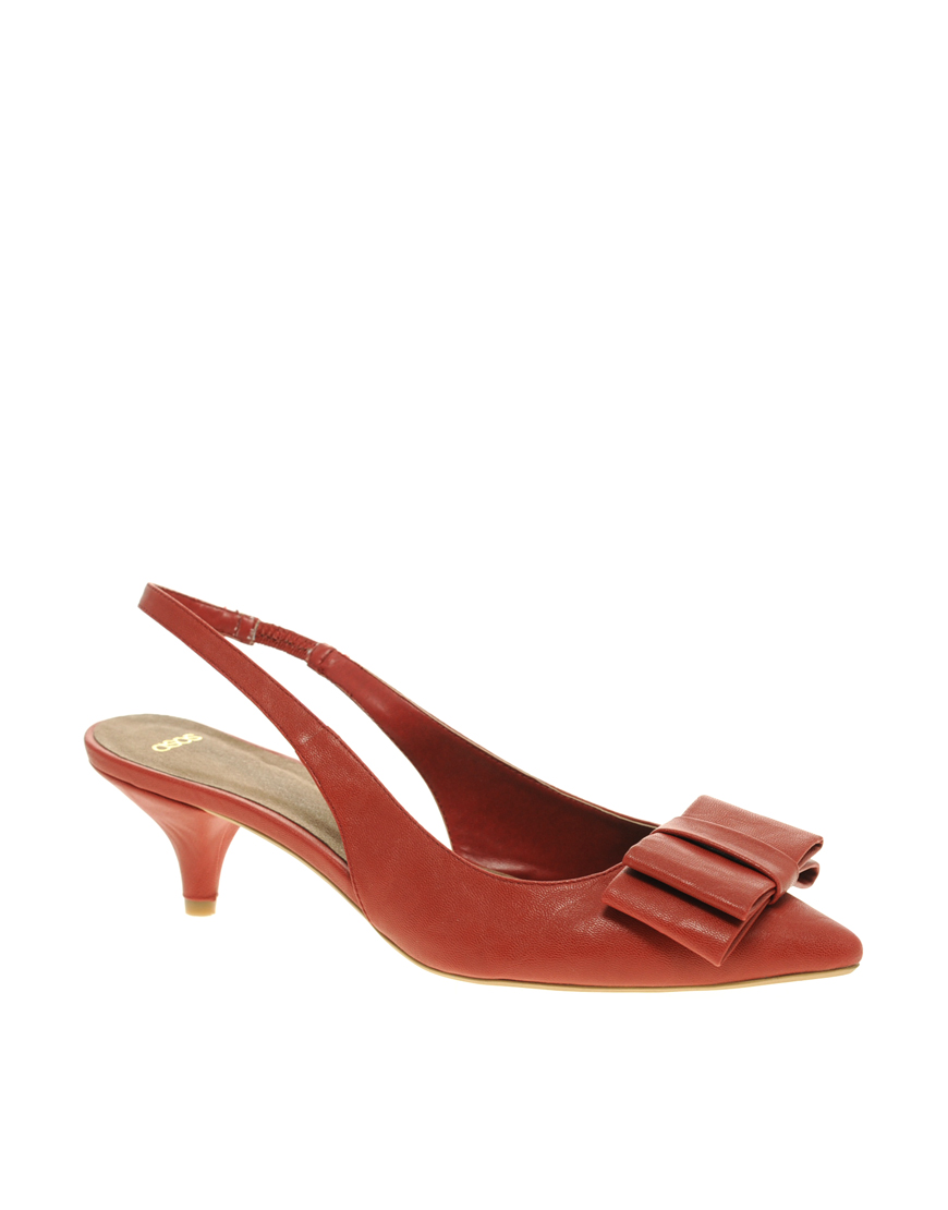 Red Suede Slingback Shoes