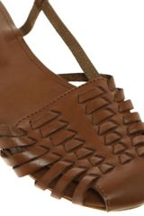Asos Asos Mex Leather Woven Flat Shoe in Brown (tan) - Lyst