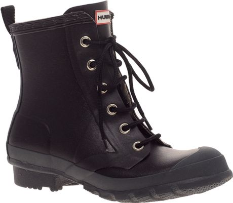Hunter Thurloe Lace Up Short Rubber Boots In Black Lyst