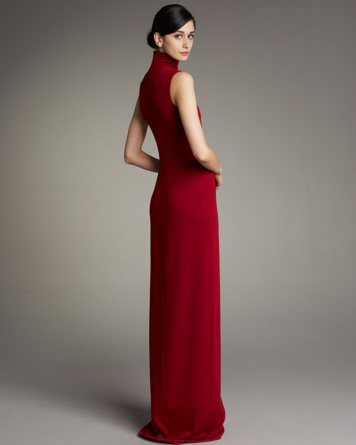 Lyst - Akris Turtleneck Gown in Red