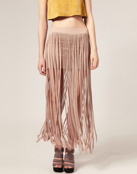 asos collection asos fringed jersey maxi skirt in black lyst