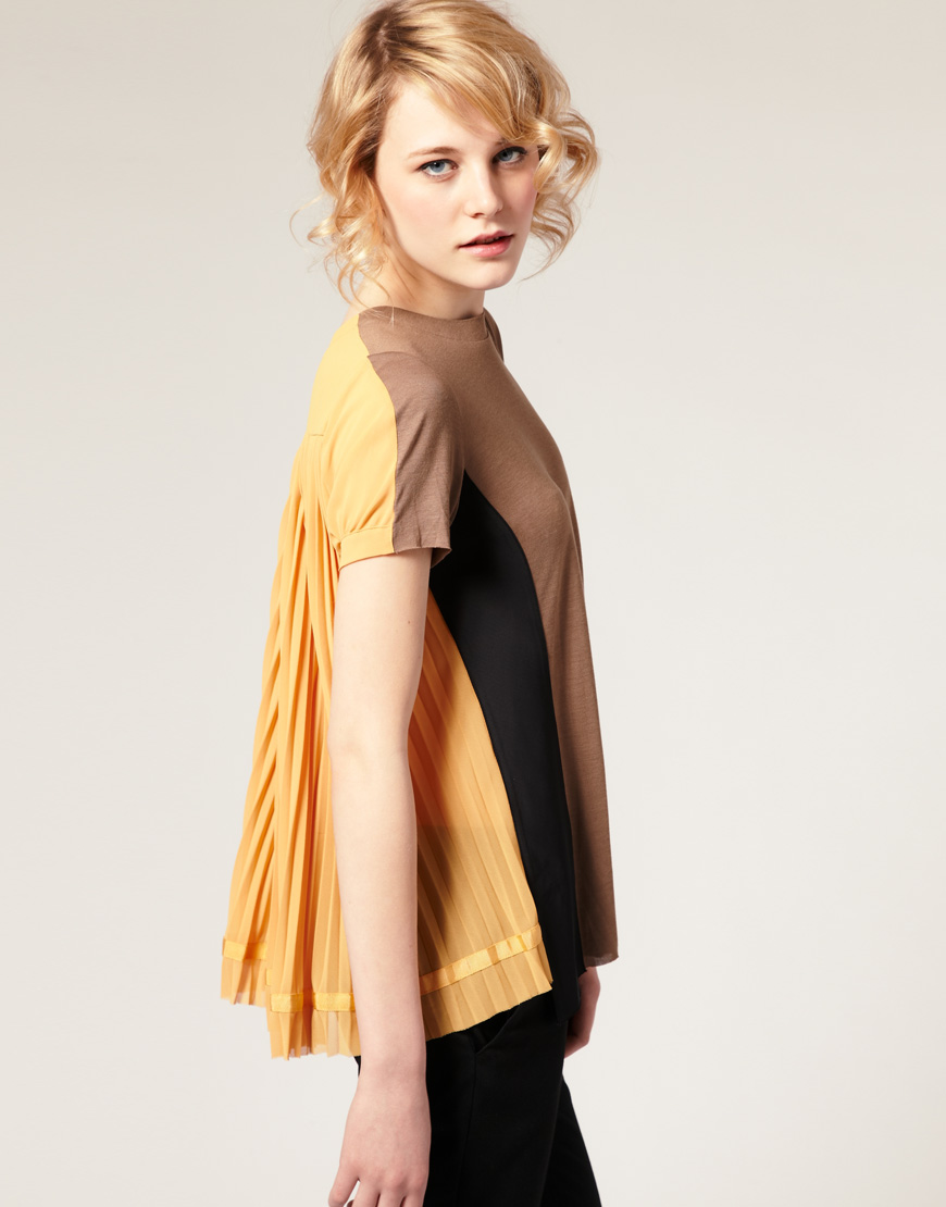 Asos Collection Asos Peplum Top In Sequin In Natural: Asos Collection Asos Premium Pleated Back Top In Yellow