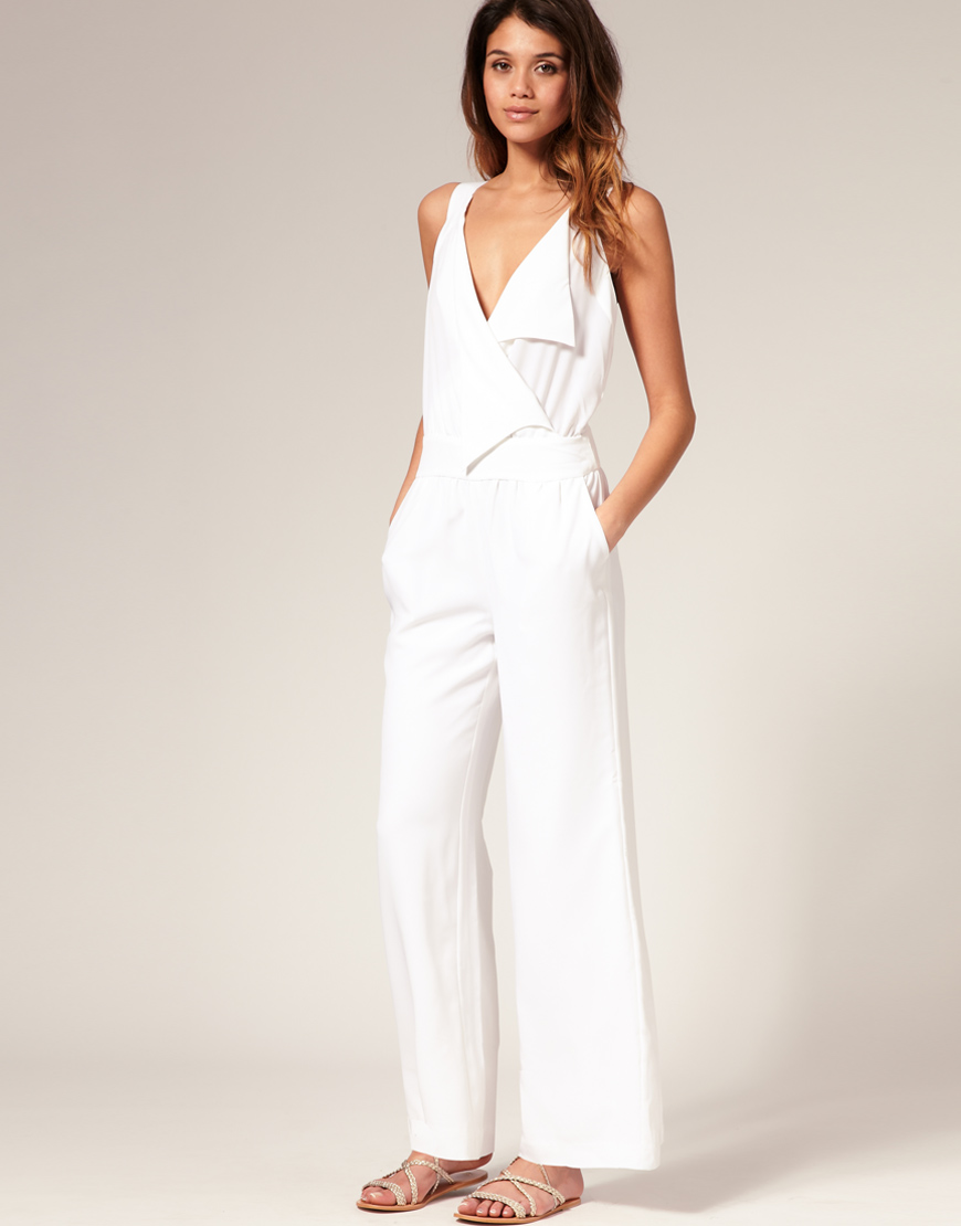 Lastest Boat Neck White Pure Color Wide Leg Women39s Jumpsuits  Tbdresscom