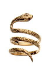Aurelie Bidermann Gold Snake Ring, Set with Black Diamonds