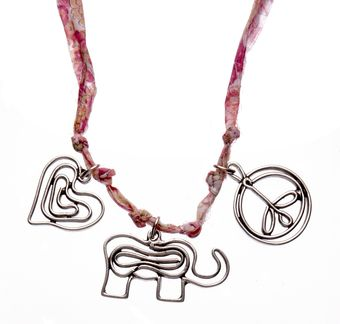 Aurelie Bidermann Three Charms Necklace On Pink Liberty Thread - Lyst