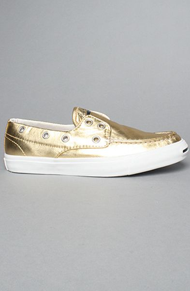 Converse The Boat Slip Shoe in Metallic Gold in Gold for Men (metallic gold)