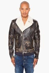 DSquared2 Shearling Leather Jacket - Lyst