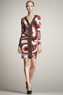Emilio Pucci Cerchi-print Ruched Dress - Lyst