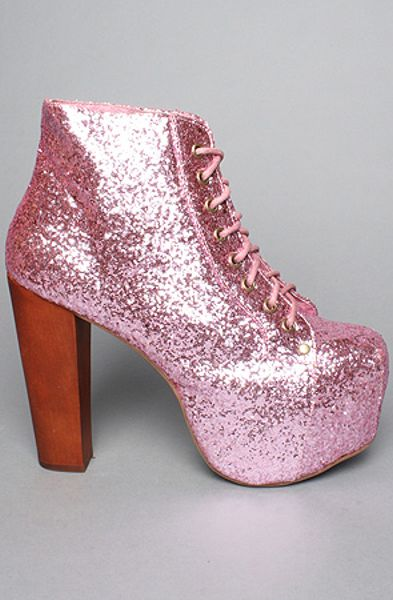 Jeffrey Campbell The Lita Shoe in Pink Glitter in Pink