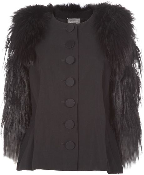 Lanvin Cropped Goat and Fox Fur Jacket in Black - Lyst