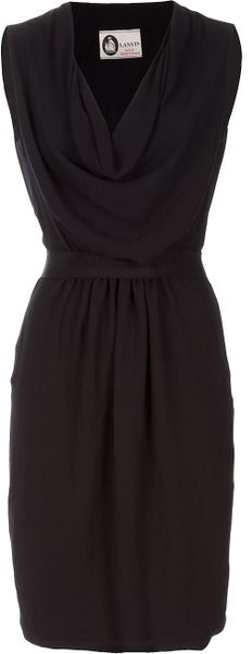 Lanvin Drape Dress in Black - Lyst