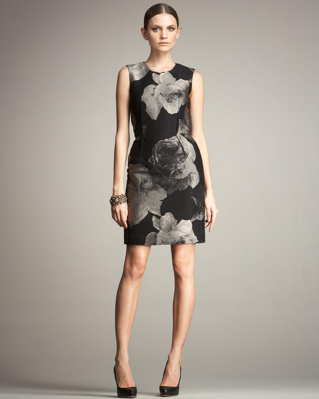 Lyst Lanvin Floral Sheath Dress In Black
