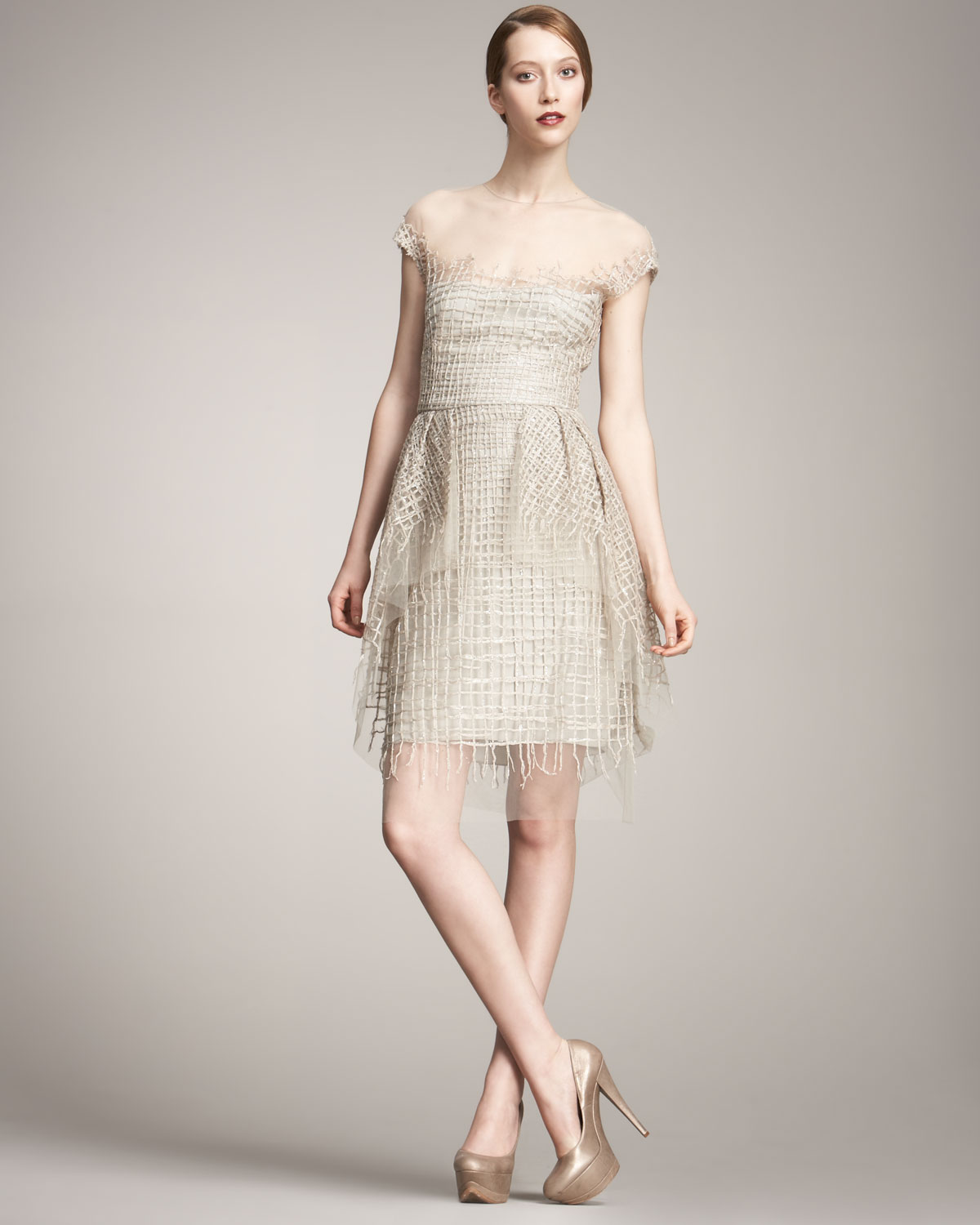 Lela rose embroidered tulle dress in natural lyst