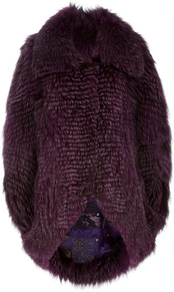 Liska Fox Fur Cape Coat - Lyst