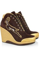 Marc By Marc Jacobs Suede Lace-up Wedges - Lyst
