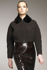 Marc Jacobs Tweed Fur-collar Jacket - Lyst