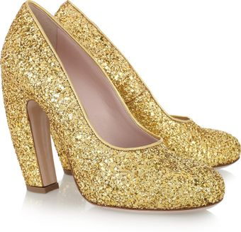 Miu Miu Glitter-finish Leather Pumps - Lyst