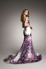 Monique Lhuillier Strapless Silk Trumpet Gown in Purple (multi) - Lyst